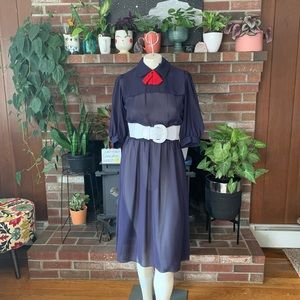 Vintage sheer secretary dress with bow tie
